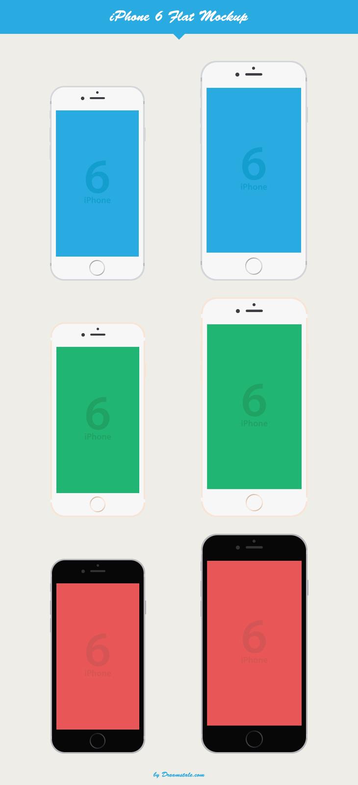 freebie iphone 6 and 6 plus flat vector mockup
