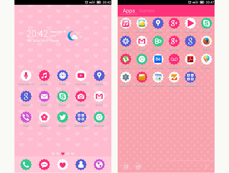 GoCute Android theme for go launcher ex 3