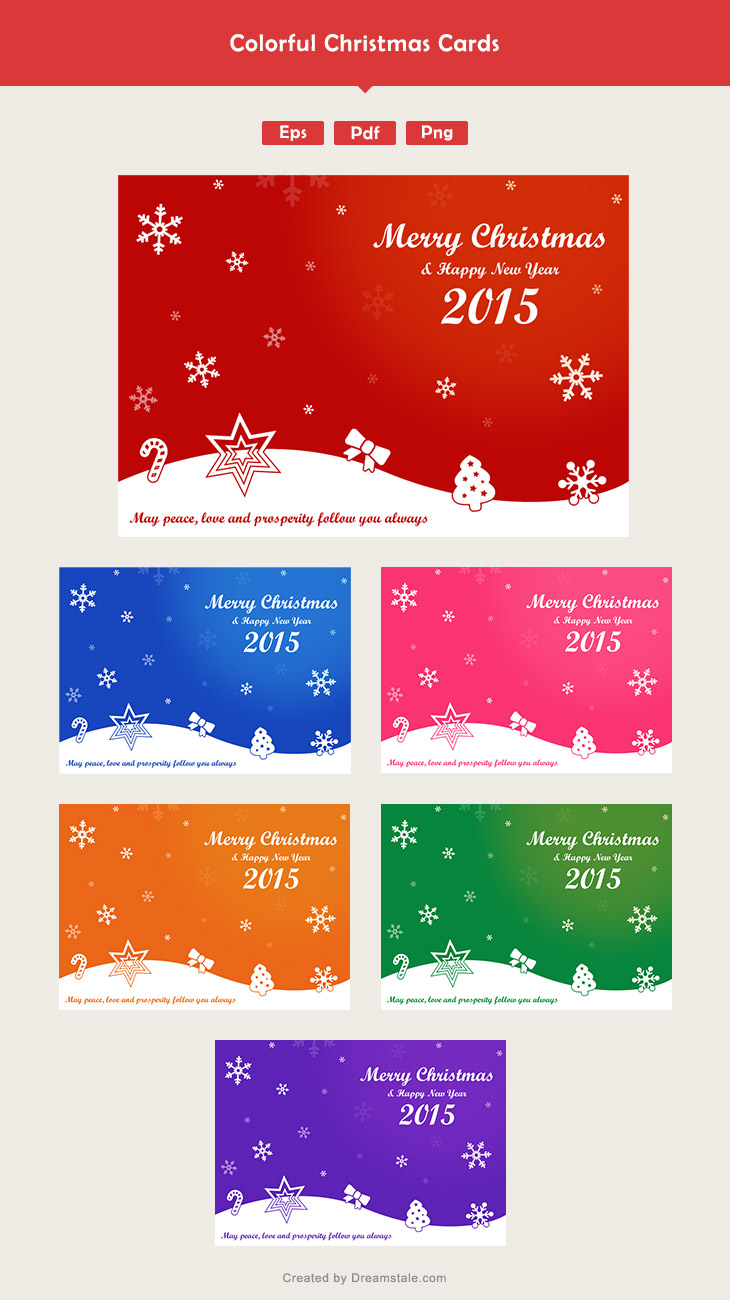 6 Colorful Free Christmas Card Vectors 1