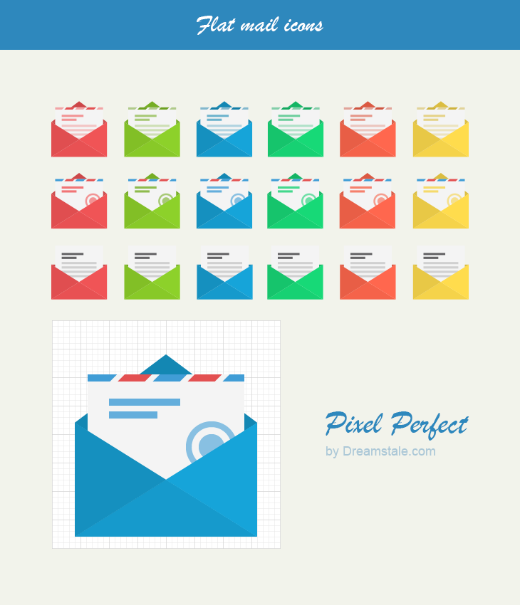 Flat vector mail icons by dreamstale large