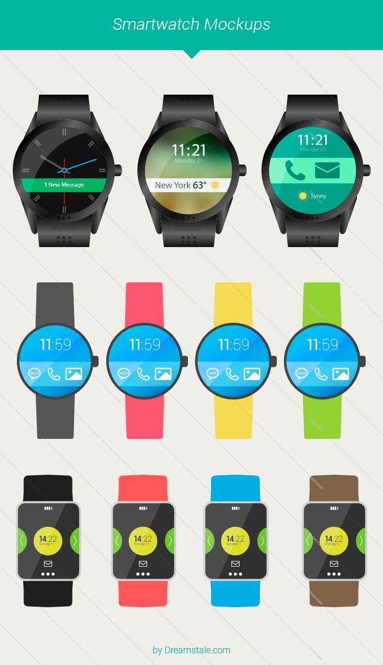 flat vector smartwatch mockups lrg