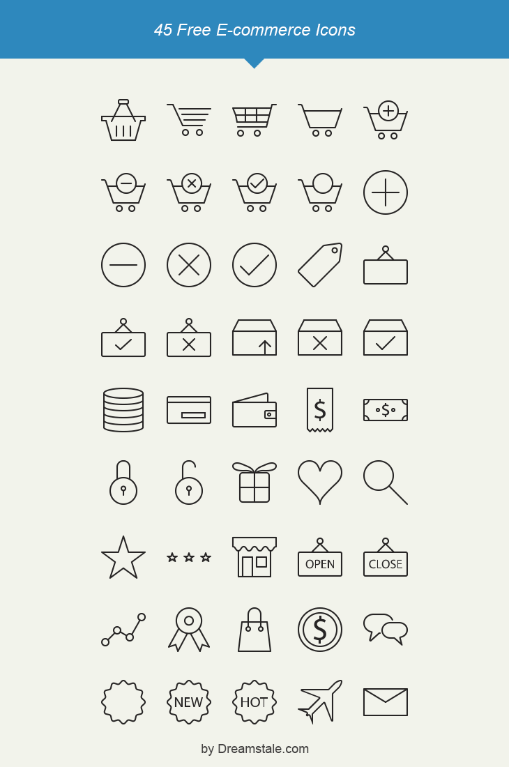 freebie 45 free e-commerce vector icons preview