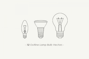 12-outline-lamp-bulb-vectors
