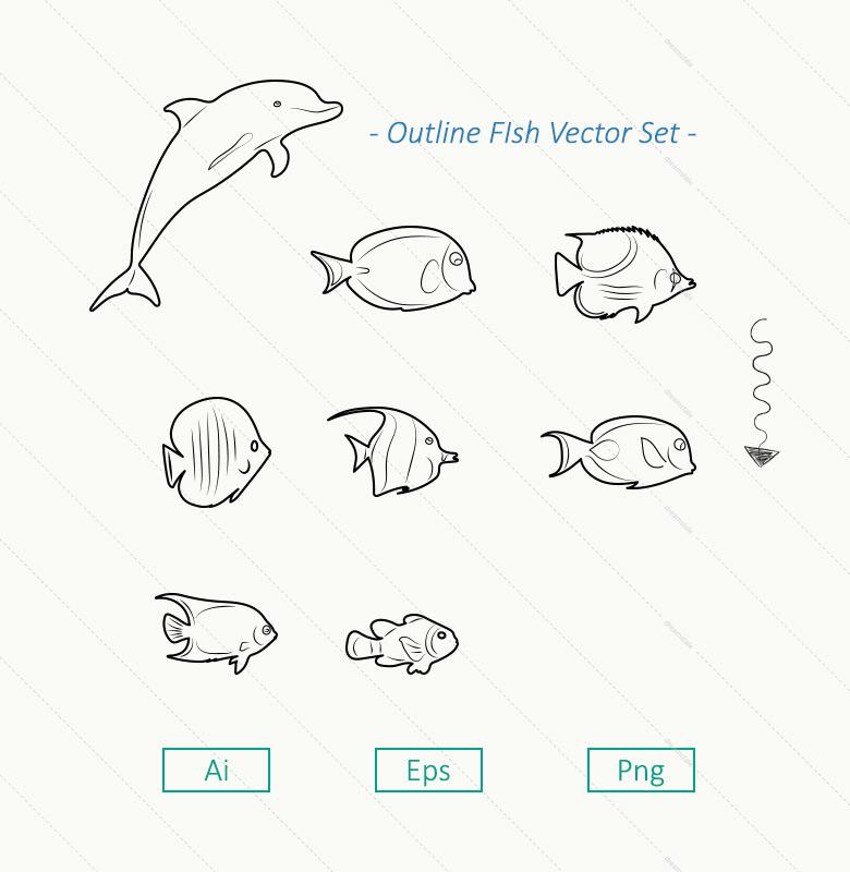 8-outline-sea-fish-vector-set-l