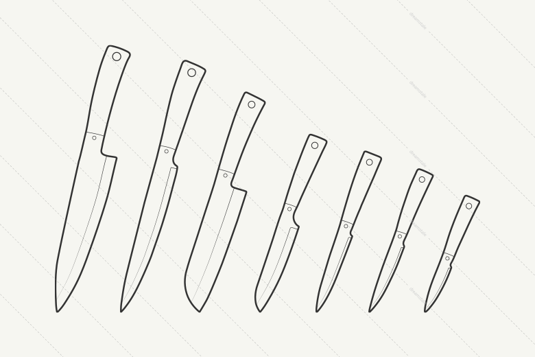 Vector-Outline-kitchen-knives