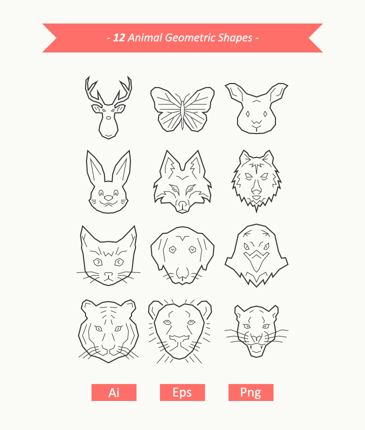 Animal Face Geometric Shapes Lrg
