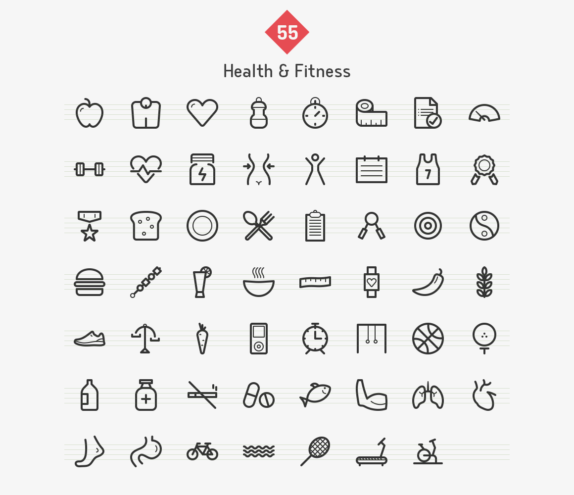 55-health-fitness-line-icons-sharpicons-list