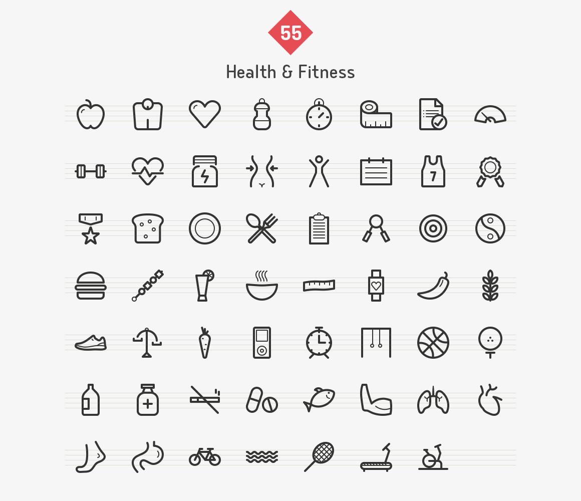 55-health-fitness-line-icons-sharpicons-list