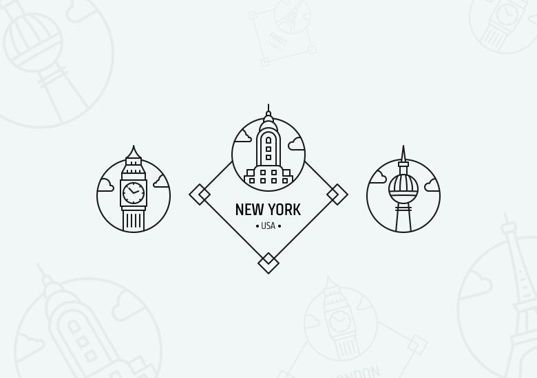 Freebie: Outline City Badges & Stamps