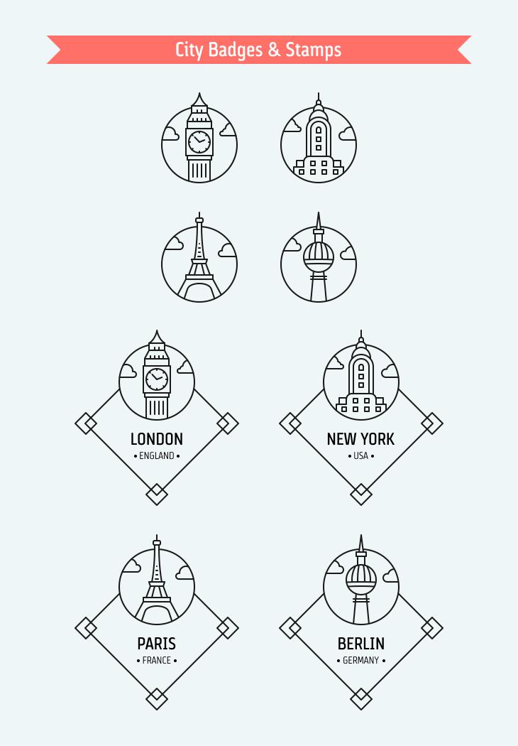 city-badges-stamps-landmarks-freebie