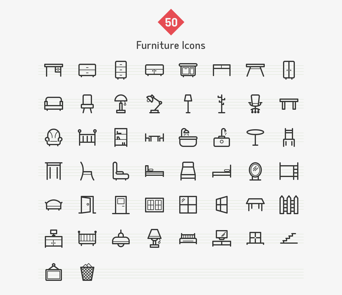 50-furniture-line-icons-sharpicons-list
