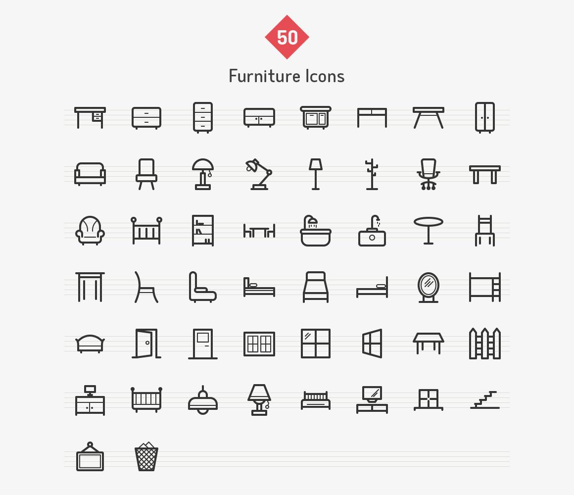 50-furniture-line-icons-sharpicons-list