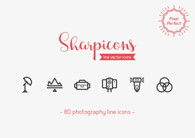 80-photography-line-icons-sharpicons-preview