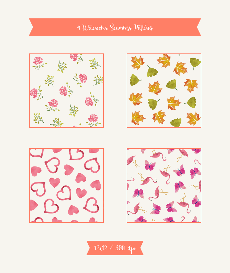 4-seamless-watercolor-patterns