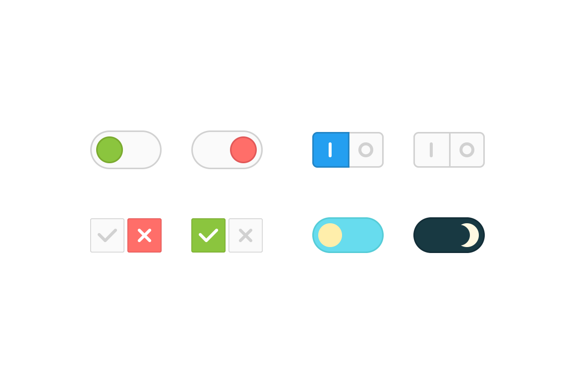 Flat Toggle Vector Buttons - Dreamstale